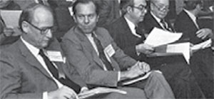 Eric Kandel (left) at a medical conference at the NIMH in Bethesda, MD, circa 1965. (Courtesy NIH)