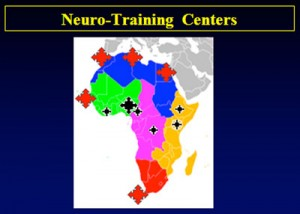 Figure 1. Training centers in Africa. Red stars are those with a good percentage of African trainees from outside the country. (Diop)