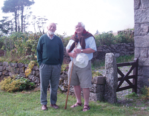 Alan Emery (left of the picture) with the author on Dartmoor in Southwest England.