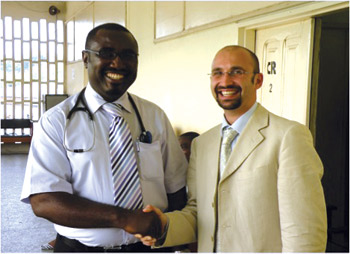 Organizers of the neurology training: Albert Akpalu (left), Korle Bu Teaching Hospital in Accra, Ghana, and Roberto Cilia, Parkinson Institute, Milan, Italy.