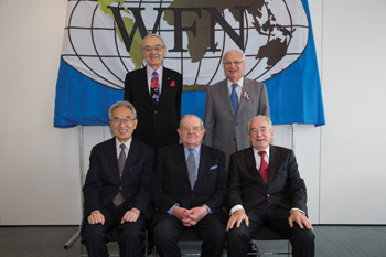 Front Row (L-R): Jun Kimura (2002-2005); Lord Walton of Detchant (1990-1997); Johan Aarli (2006-2009) Back Row (L-R): Vladimir Hachinski (2010-2013); Raad Shakir (2014-2017)
