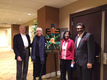 (From left to right) Donald Silberberg, MD, University of Pennsylvania, Philadelphia; Kathleen Michels, PhD, program officer and neuroscience cluster coordinator, Division of International Research and Training, Fogarty International Center (FIC); Nalini P. Anand, JD, MPH, director, Division of International Science Policy, Planning and Evaluation, director, Center for Global Health Studies, Bethesda, Md.; and Raj Kalaria, PhD, FRCP, professor of neuropathology, IBRO-WFN liaison officer, Newcastle University, Newcastle upon Tyne, U.K