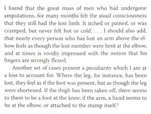 Figure 2. Text extracted from Silas Weir Mitchell's publications about phantom limb pain (syndrome).