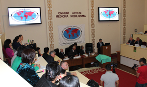 Opening statement of the International Neurology Forum by Prof. Aikan Akanov on Sept. 23, 2014, with Prof. Guram Pichkhadze, Erik Wolters and Daniel Truong.