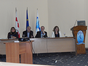 Participants of the second Regional NSRG WFN meeting. From left to right: Marina Alpaidze, MD, President of NSRG WFN Georgian Chapter and President of Georgian Society of Neurosonology and Cerebral Hemodynamics;  Alexander Razumovsky, PhD, FAHA, Secretary of NSRG WFN (U.S.); Natan Bornstein, MD, PhD, Vice-President of World Stroke Organization, President of European Society for Neurosonology and Cerebral Hemodynamics (Israel); and Ekaterina Titianova, MD, PhD, Dsc, President of Bulgarian Society of Neurosonology and Cerebral Hemodynamics.