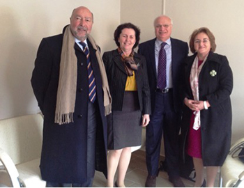 Figure 1. Left to right.  Antonio Federico (Sienna Italy), Jera Kruja President Albanian Society of Neurology, Raad Shakir (WFN President), Mira Rakacolli Dean Faculty of medicine Tirana University.