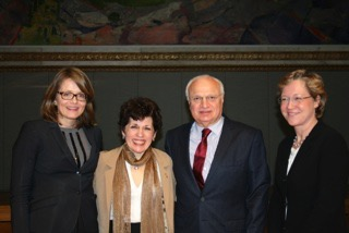 Figure 2. Left to right. Anne Hege Aamodt President of Norwegian Neurological Association, Olga Bobrovnikova Renowned Pianist, MS sufferer and European Brain Council Ambassador, Raad Shakir WFN President, Hanne F Harbo Head Norwegian Brain Council. (photographer, Lise Johannessen Norwegian Medical Society).