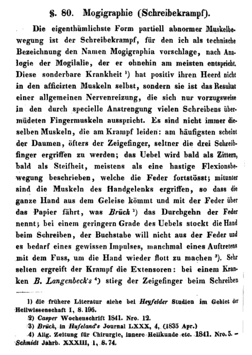 Georg Hirsch's chapter on mogigraphie