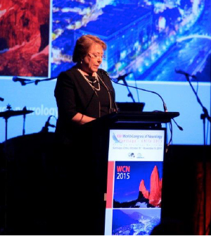 Michelle Bachelet, president of Chile, addresses the Congress.