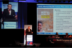 World Health Organization (WHO) Assistant Director-General of Noncommunicable Diseases and Mental Health Oleg Chestnov leads a WHO symposium.