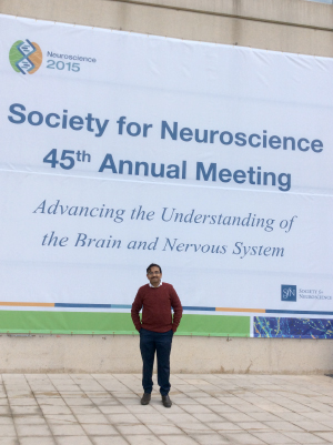 Sudip Paul, WFN Junior Traveling Fellowship awardee, travels to the 45th Annual Meeting of the Society of Neuroscience in Chicago to present his research.