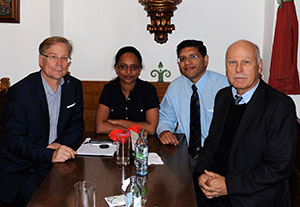 Pictured, left to right: Professor Reinhold Schmidt, president of the Austrian Society of Neurology; Dr. Hanna Demissie Belay, assistant professor, department of neurology at Addis Ababa University, Ethiopa; Dr. Kalpesh Jivan (South Africa) and Professor Wolfgang Grisold, WFN secretary general.