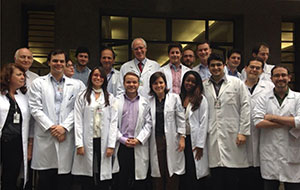 Ricardo Nitrini, MD (back row, center), faculty and residents from the University of Sà£o Paulo, Brazil, gather for a photo.
