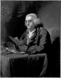 Portrait of Benjamin Franklin (1705-1790) by Charles Willson Peale (1772)