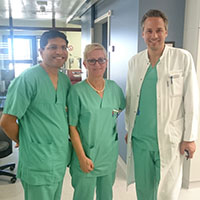 From left to right, Kalpesh Deraji Jivan, MD, Bettina Pfausler, MD, and Ralmund Helbok, MD