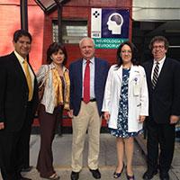 Figure 2- left to right, Dr. Iledefonso Rodriguez Leyva, Dr. Karina Velez Jimenez, Professor Raad Shakir, Dr. Minerva Lopez, Dr. Steven L. Lewis, during the WFN visit to neurology training programs in Mexico City.