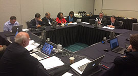 Meeting of the WFN with some of the members of the Zika Working Group at the American Academy of Neurology Annual Meeting in Vancouver on April 18, 2016. From left to right: Raad Shakir, MD; David Bearden MD; Ildefonso Rodriguez-Leyva, MD; Miguel Osorno Guerra, MD; Minerva Lopez Ruiz, MD; Karina Velez Jimenez, MD; Allen Aksamit, MD; and Russell Bartt, MD; Also participating in the meeting, but not in the photo, were William Carroll, MD, Wolfgang Grisold, MD, Steven Lewis, MD, and Marco T. Medina, MD.