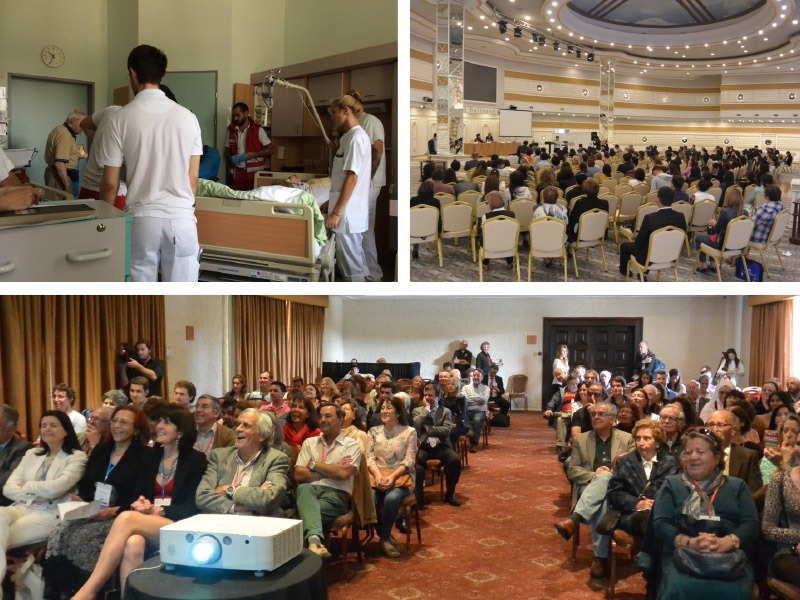 World Neurology is encouraging submissions on a variety of topics related to neurologic education, including, but not limited, to education of neurologic trainees, continuing education, and education of the public. Clockwise top, from left to right. Figure 1 shows neurologists in training in Vienna, Austria, figure 2 shows neurologists attending a continuing neurologic education symposium in Almaty, Kazakhstan in August 2015, and figure 3 shows Patient Day at the World Congress of Neurology in Santiago Chile, October 31, 2015.