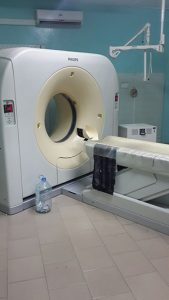 CT scan room of the neurology department at Fann Teaching Hospital, Dakar, Senegal.
