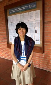 Yuri Takeuchi, MD, president of the XII Colombian Congress of Neurology, wearing the official scarf of the WFN.