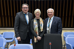 LEFT TO RIGHT: OLEG CHESTNOV, WHO ASSISTANT DIRECTOR GENERAL; BENTE MIKKELSEN, GCM NCDS CHAIR; AND RAAD SHAKIR, WFN PRESIDENT.