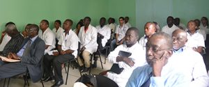 Faculty and residents from Cheikh Anta Diop University observe a lecture.