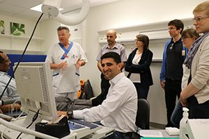 Dr. Bassam M. Abdulzahra Al-Fatly, Iraq, (seated) trains in eletcrophysiology at the Training Course in EMG and Neurography in May in Uppsala, Sweden.