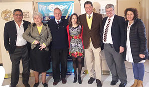 Community members and physicians take part in World Brain Day in San Miguel de Tucuman, Argentina. Alejandro Helguera (from left), Maria Ester Totongi, and Drs. Federico Pelli-Noble, Andrea Arcos, Pedro Nofal, Oscar Iguzquiza, and Alejandra Molteni.