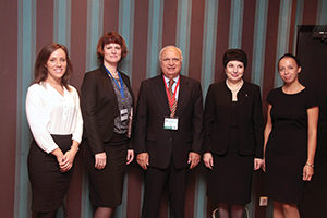 (From left) Kseniya S. Krylova, manager of the Department for International Affairs, and Natalya V. Zinserling, head of the Department for International Affairs and assistant professor in the Department of Neurology, both of North-Western State Medical University; Raad Shakir, MD,WFN president; Prof. Alla B. Guekht, Scientific and Practical Centre of Neuropsychiatry, named after Z.P. Solovyov; and Alyona D. Kubina, manager of the Department for International Affairs, North-Western State Medical University.