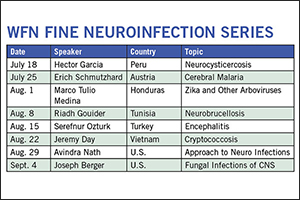 WFN/FINE Neuroinfection Series Neuroinfections form a large group of disorders commonly seen by neurologists as well as other physicians. Old, new, and emerging infections, their patterns of presentations, and imaging features as well as therapies pose challenges in practice.