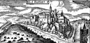 Figure 2. Convent of Rupertsberg near the estuary of the Nahe (or Nohe) river into the Rhine at the time of the 30 Years War (1618-1648).