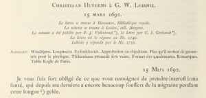 Letter by Huygens to Leibniz (1692) (from Oeuvres Complètes vol. 10, p. 268).