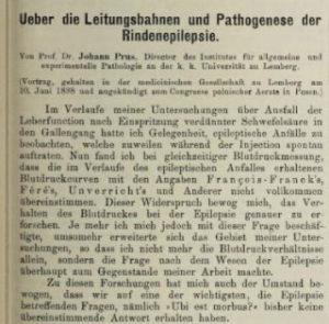 Prus's 1898 publication in the Wiener klinische Wochenschrift